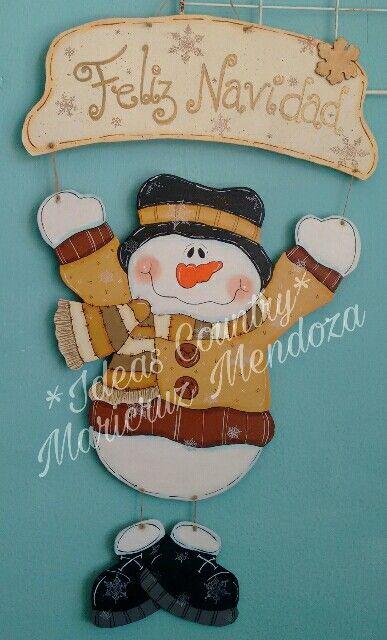 Colgante Puerta Navidad Muñeco Nieve Letrero De Feliz Navidad Madera Navidad Manualidades Navideñas
