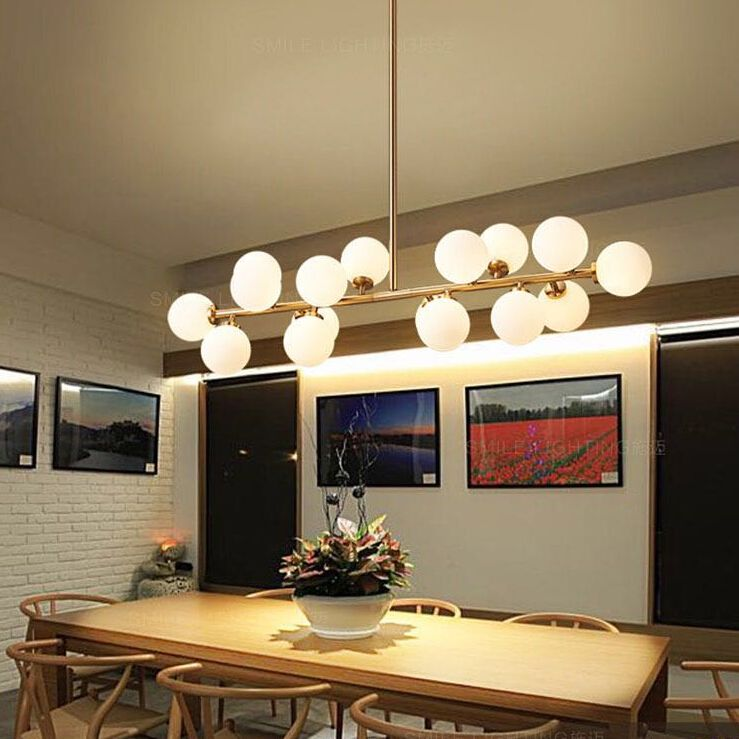 Modern Led Pendant Light White Bubble Ball Lamp Gl Fixtures Gold Bar Stair Dining Room