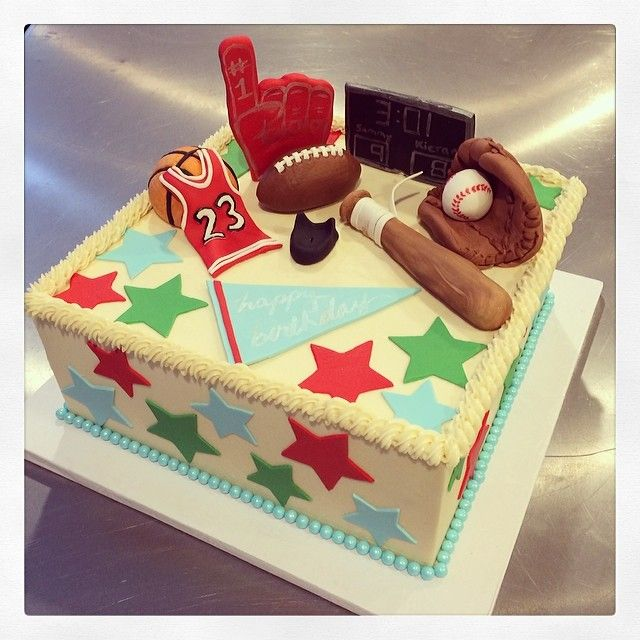 A Festive Sports Birthday Cake For Two Allstar Brothers - All star birthday cake