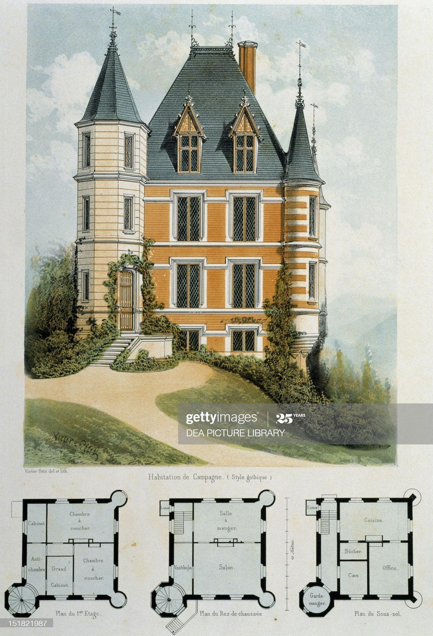 Fine Art Gothic Style Country House Lithograph Taken From Parcs Et Jardins Des Environs De Paris By V Victorian House Plans Gothic House Vintage House Plans