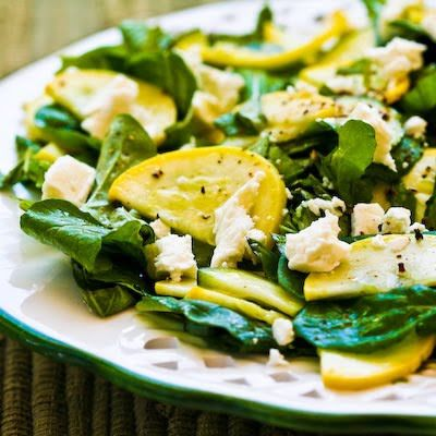 Raw Summer Squash Salad with Arugula, Feta, and Herbs (Dedicated to the memory of Barbara Harris.)