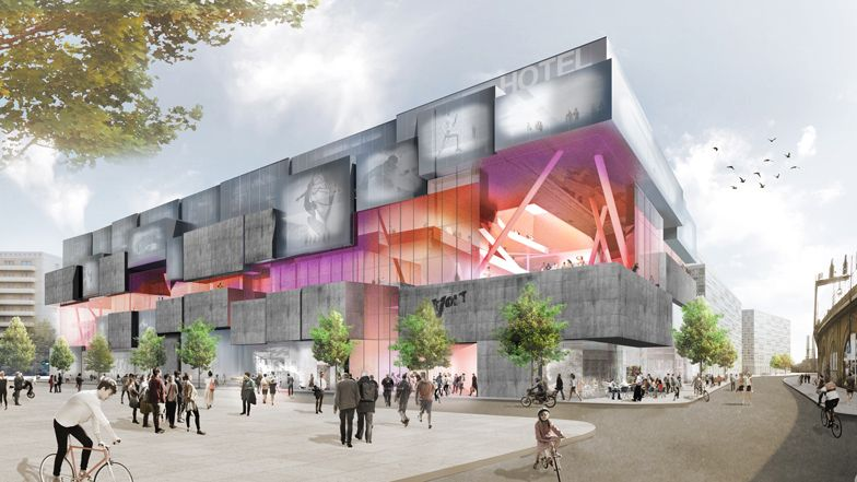 J Mayer H Designs Volt Berlin Shopping Centre Offering Indoor Skydiving And Surfing Shopping Center Architecture Win Competitions Retail Facade