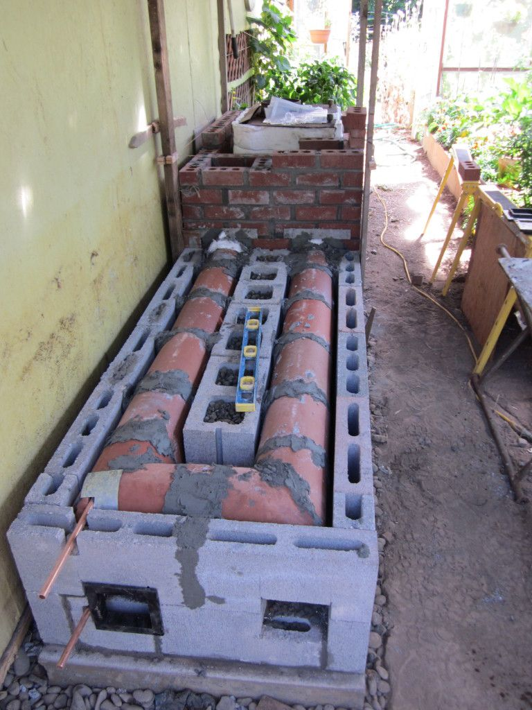 Rocket Stove Zwembad Mass Heater For A Greenhouse Using A Wood Stove Kachels En