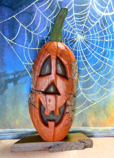 Reserved For Cherbear26 Jack O Lantern Wood Carving 9 Hand Carved Original Halloween Pumpkin Cottonwood Bark For Sale By Joan Wood Carving Carving Hand Carved