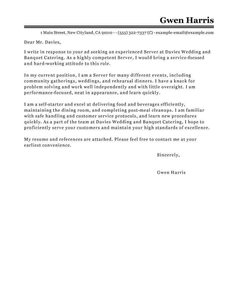 23+ Server Cover Letter | Cover Letter Resume | Pinterest | Cover ...