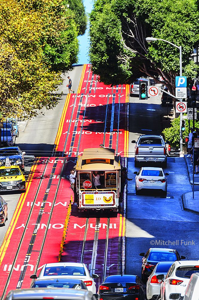 Cable Car Going Up Powell Street, San Francisco By Mitchell Funk www.mitchellfunk.com