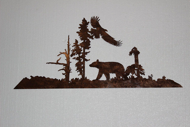 Bear and eagle rustic metal wall art country u rustic decor