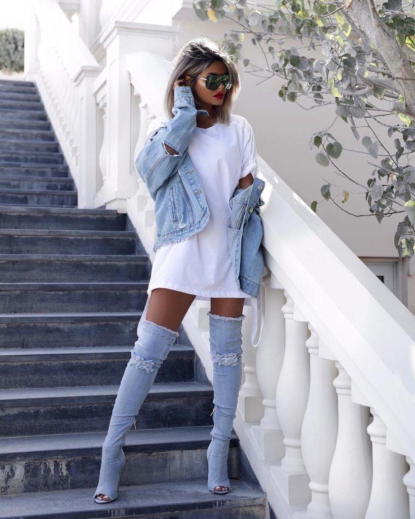 Ladies blue denim jeans over knee high boots wedges denims shoes jeans boots handmade open toe lace up vegan cotton shoes linen summer boots