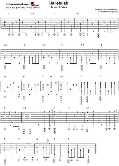 Hallelujah Fingerstyle Guitar Tablature Guitar Pinterest