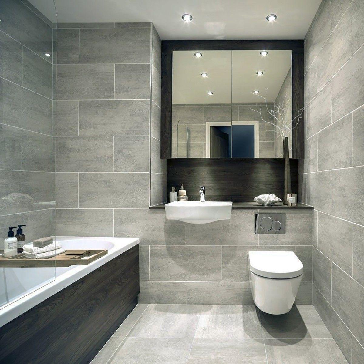 Indiana Grey Porcelain Wall & Floor Tiles Grey bathroom