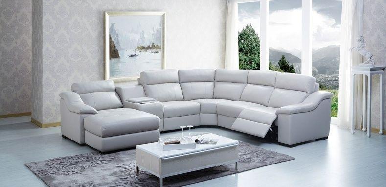 Captivating White Leather Reclining Sectional Sofa