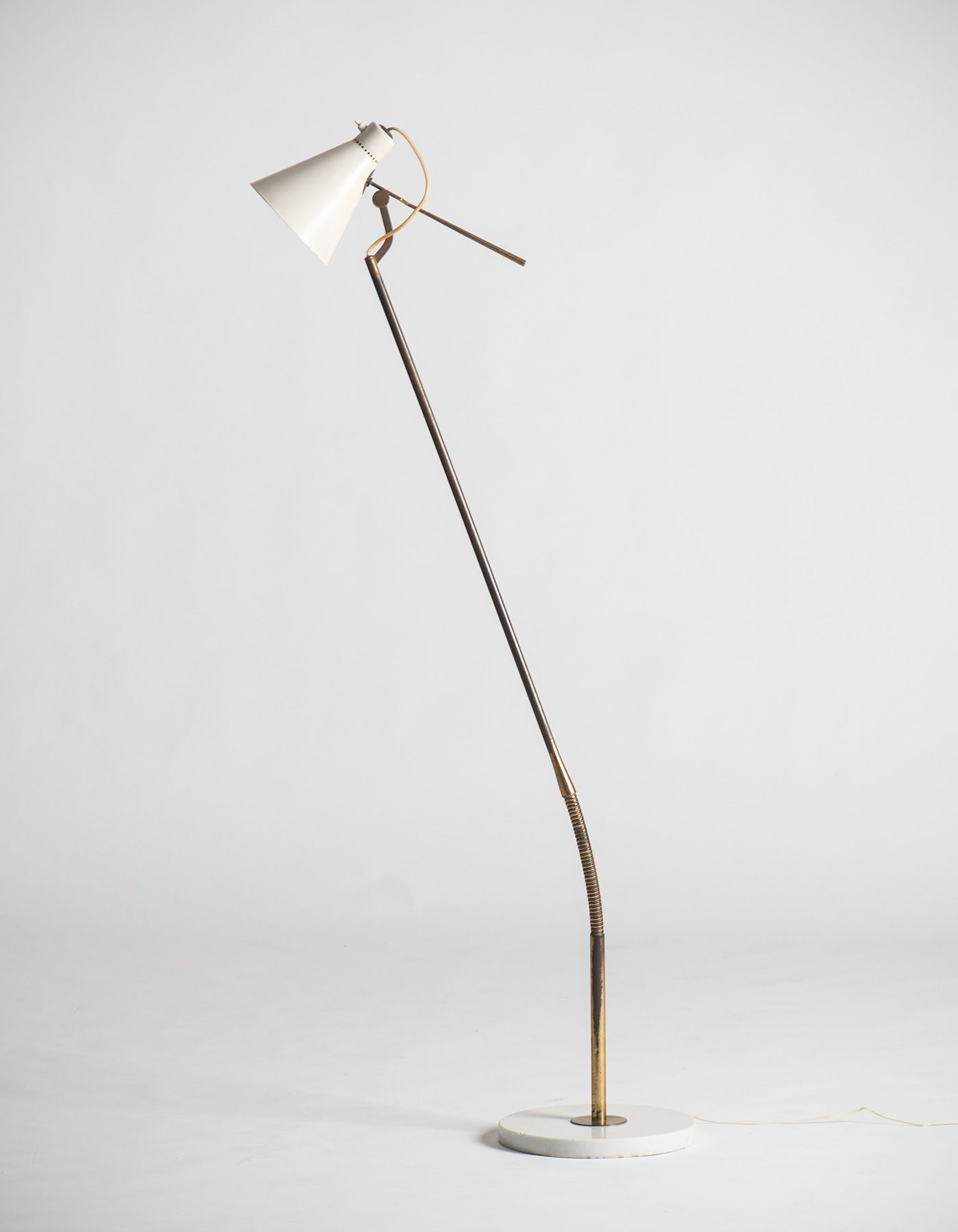 Authentic Gino Sarfatti Floor Lamp Model 1030 Designed For Arteluce Italy 1948 Materials Lacquered Aluminum Polished Bras Lampada Vintage Lampade Lamps