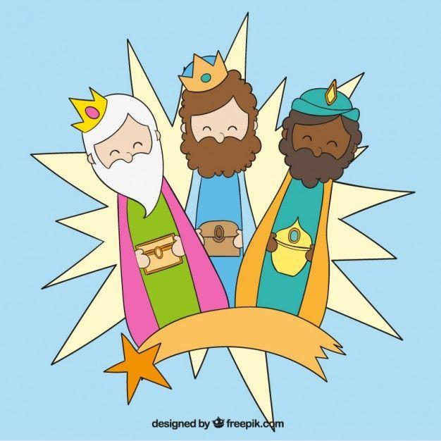 Imagenes Tres Reyes Magos Gratis.Tres Reyes Magos Con Estrella Fugaz Vector Gratis Party