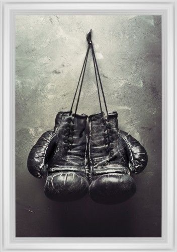 Boxing Gloves Framed Print, White, Classic, None, None, Single piece, 24 x 36 inches, White