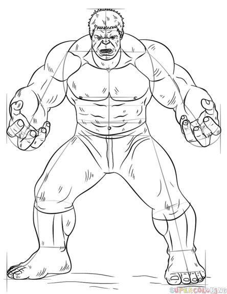 How To Draw Hulk Step By Step Drawing Tutorials For Kids And Beginners Hulk Coloring Pages Batman Coloring Pages Avengers Coloring Pages