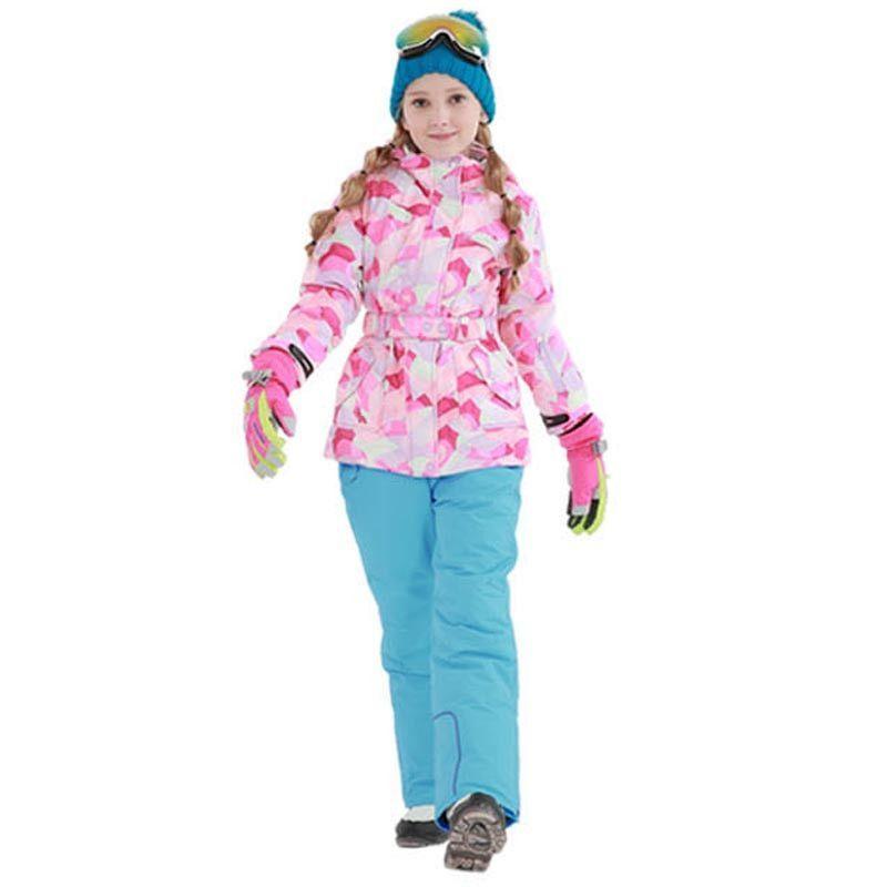8c8220c2d Detector Girls Ski Suit Waterproof Kids Ski Jacket Ski Pants thermal ...