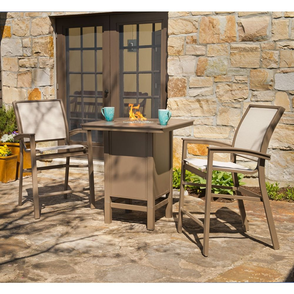 Bazza Counter Height Fire Table Set. Also, Available With Bar Chairs And  Table Option