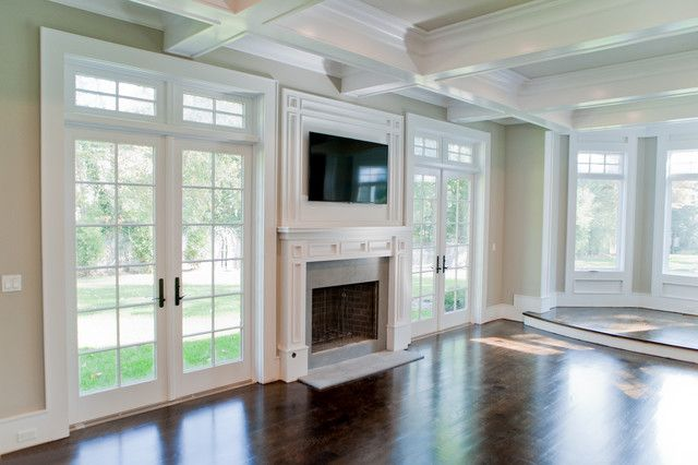 Living Room With Fireplace And Windows michelle winick design: incredible living room with coffered