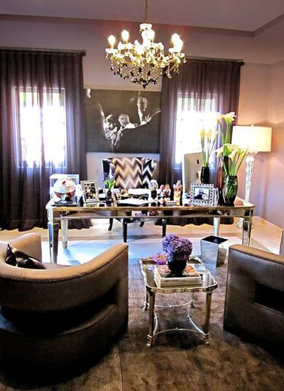 Khloe K\u0027s home office- I love the art deco influences w/ mirrored