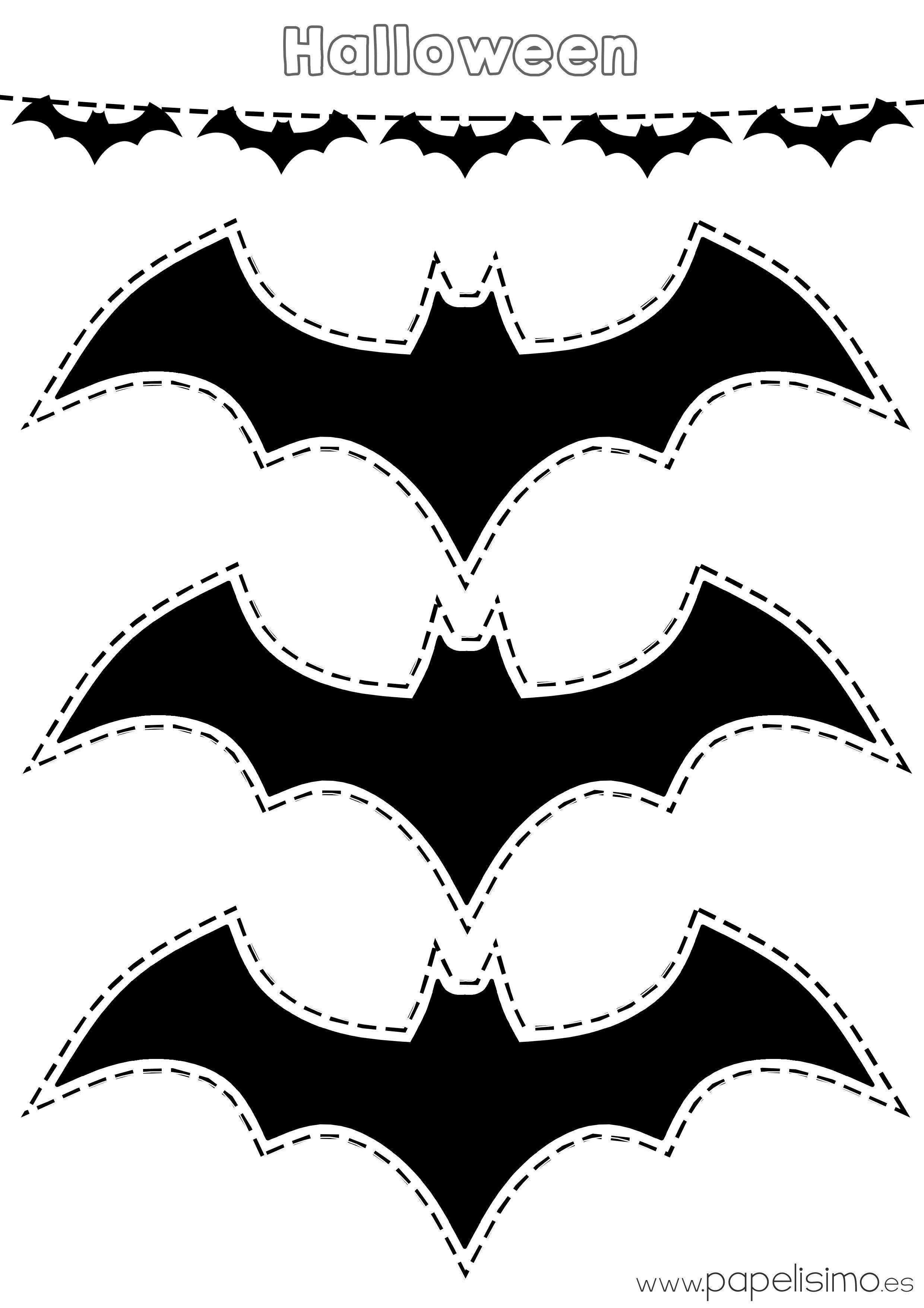 Platilla-murcielagos-Halloween-recortar-guirnalda-de-papel | brujas ...