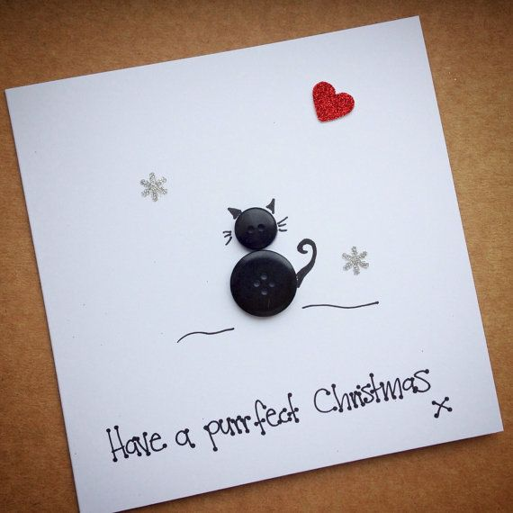 PERSONALISED Button Cat Christmas Card Wife Husband Fiance
