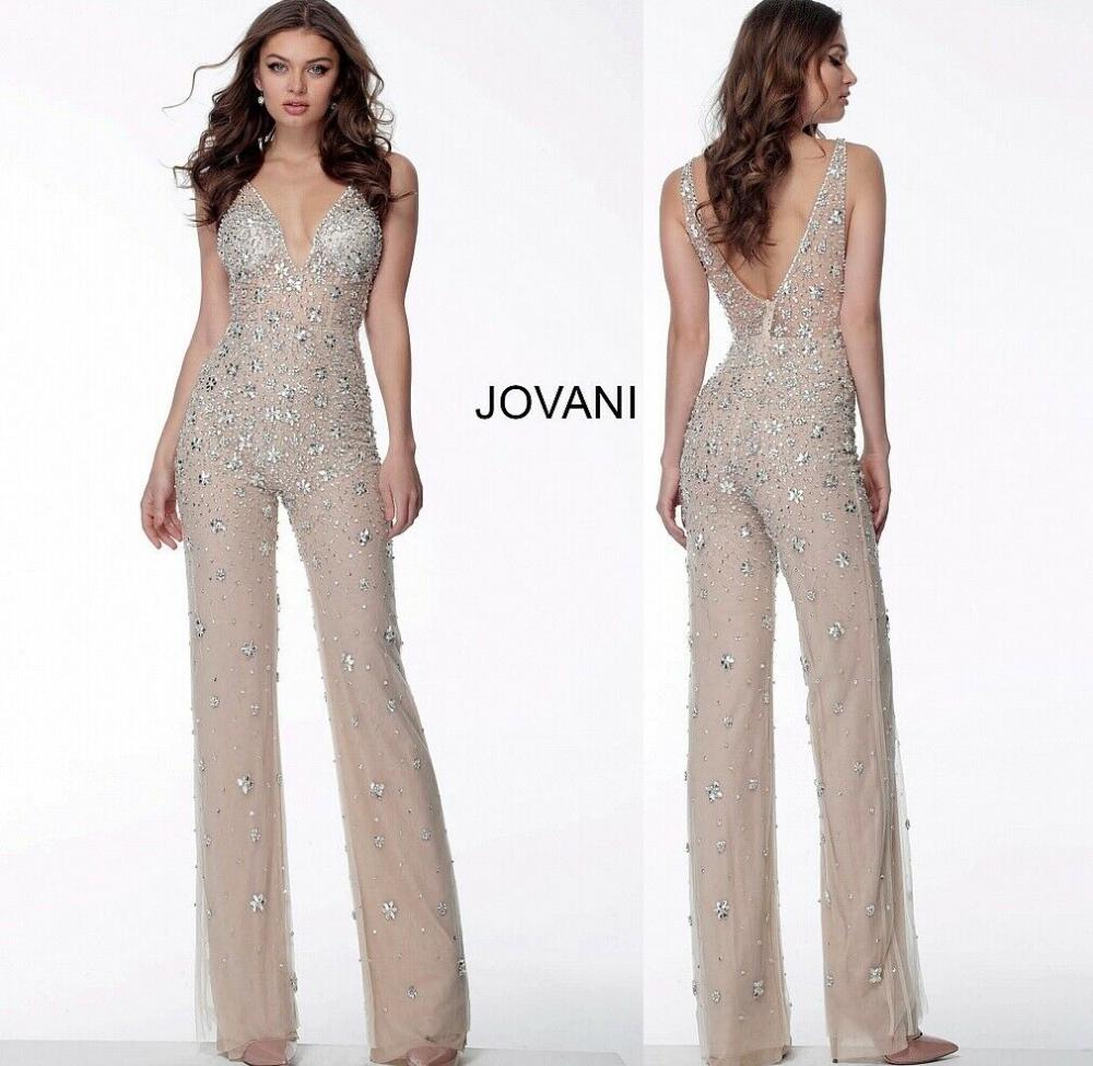 Jovani 65331   Nude Illusion Embellished V Neck Jumpsuit