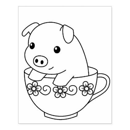 Cute Piglet Pig in a Teacup Coloring Page Rubber Stamp - animal gift ...