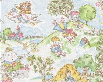 Nursery Rhyme Flannel Fabric By The Yard Baby Boy Cotton Craft Upholstery Material