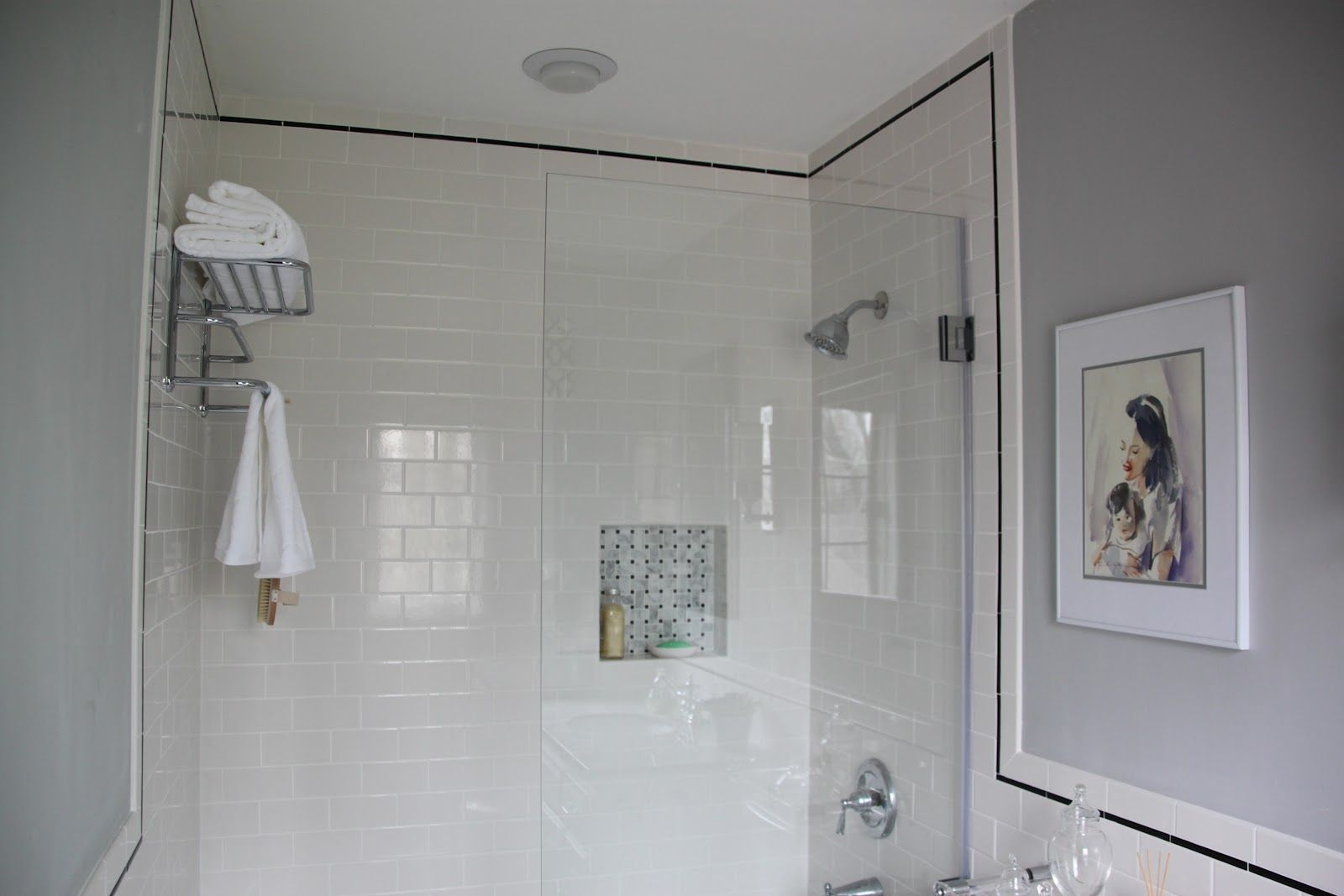 White Subway Tile | We used 3x6 white subway tiles with black pencil ...
