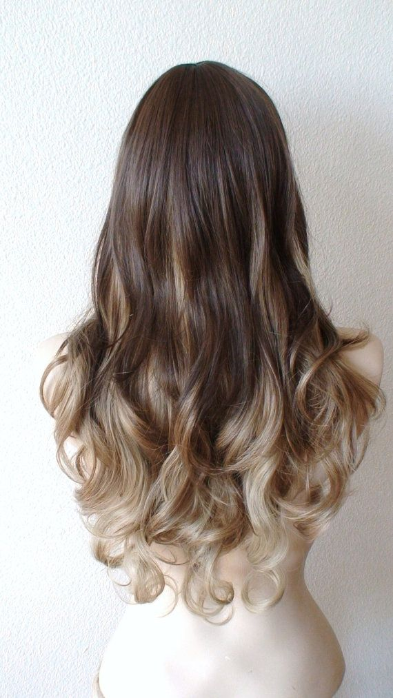 Ombre wig. Brown dirty blonde long curly wig with