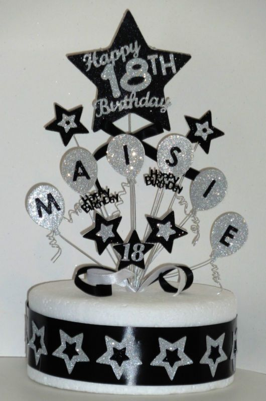 Details About Balloons Birthday Cake Topper Any Name Age 18th