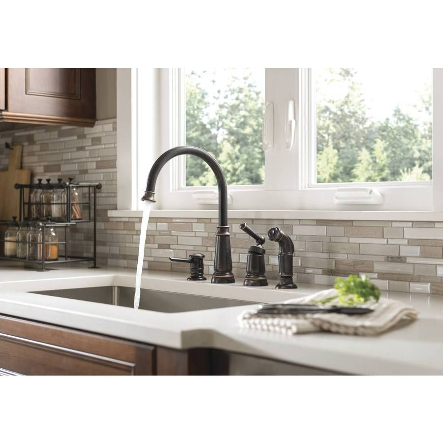 lowes shop handle arc high faucet pd deck faucets moen kitchen caldwell chrome mount