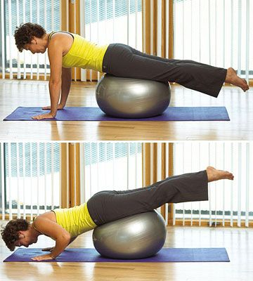 Push-Ups with an exercise ball! Another way to step up a normal exercise.
