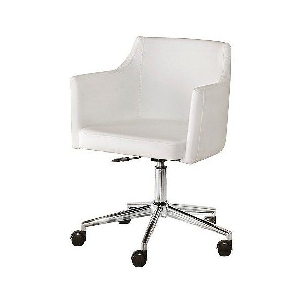 Baraga Home Office Swivel Desk Chair White 270 Liked On Polyvore Featuring Home Furniture Chairs O White Desk Chair Swivel Chair Desk Modern Desk Chair