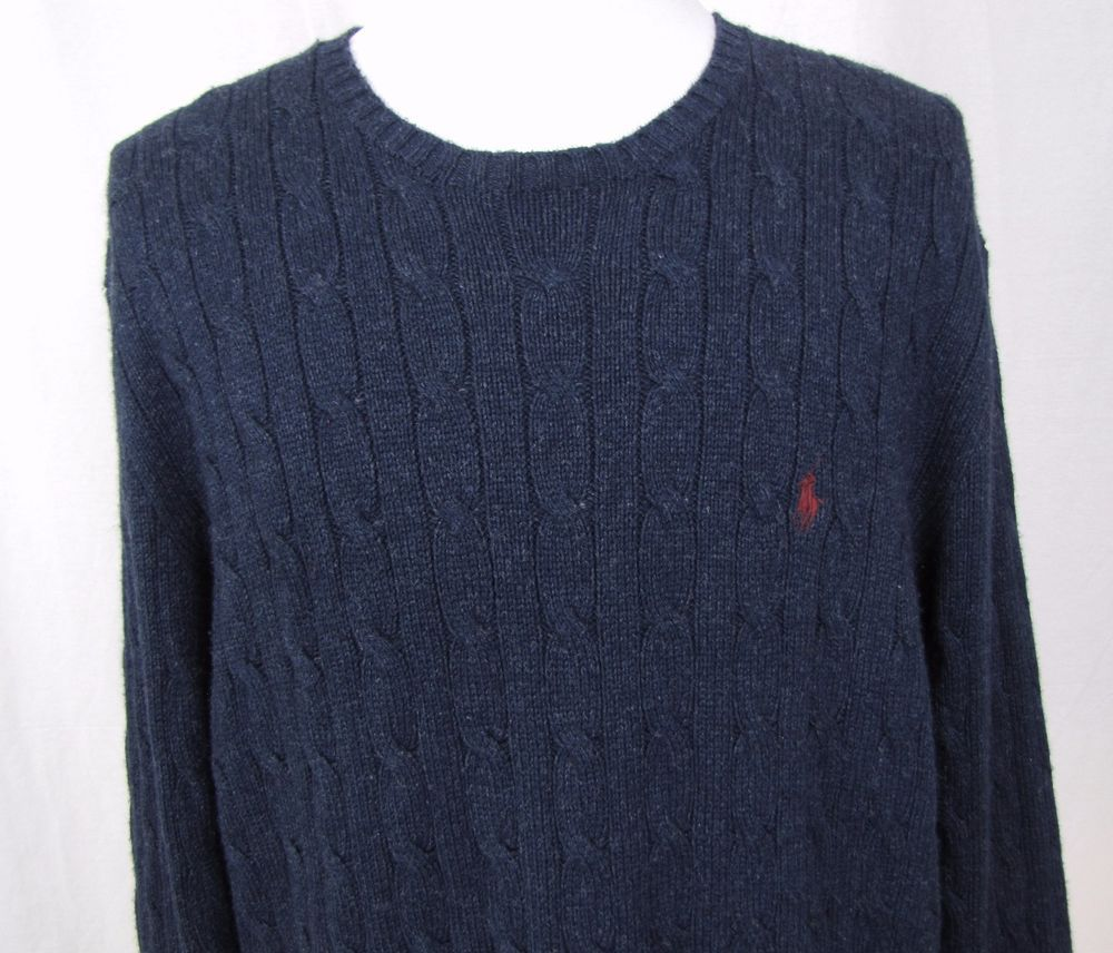 Polo Ralph Lauren Sweater XXL Silk Cashmere Navy Crewneck Cable ...