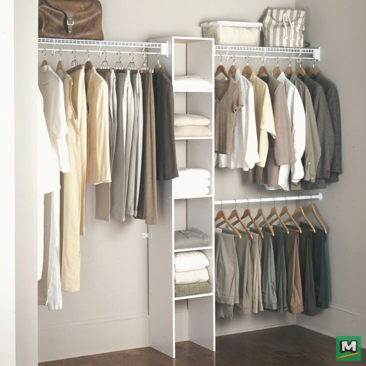 Complete Your Closet With A Rubbermaid 60 96 Closet Organizer Kit It Not Only Includes Everything You Closet Rack Closet Organizer Kits Wire Closet Shelves