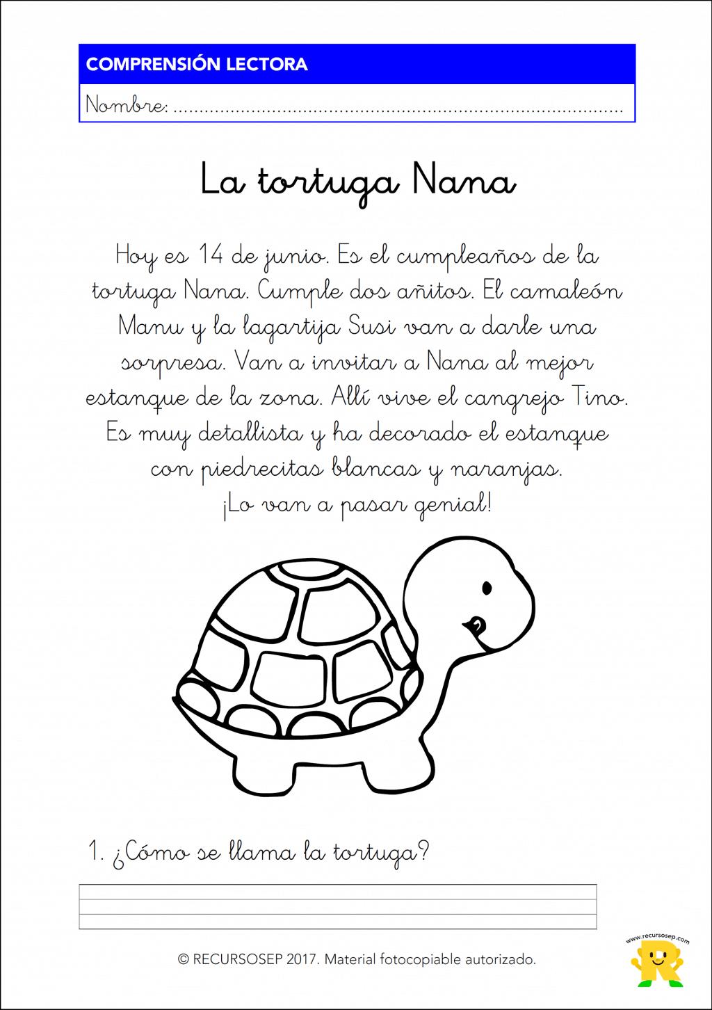 La tortuga nana comprensi n lectora 1 de primaria