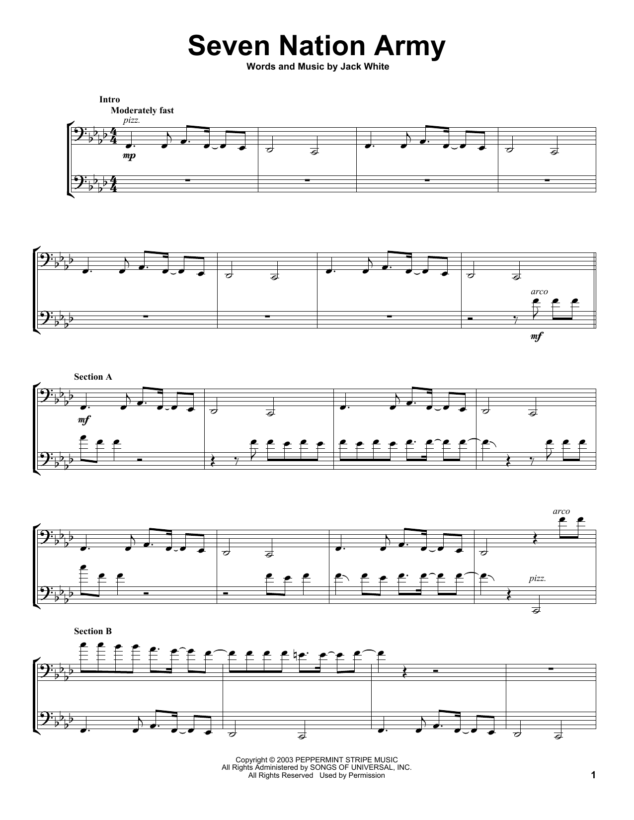 2cellos Seven Nation Army Sheet Music Notes Chords Score Download Printable Pdf Cello Sheet Music Clarinet Sheet Music Trombone Sheet Music