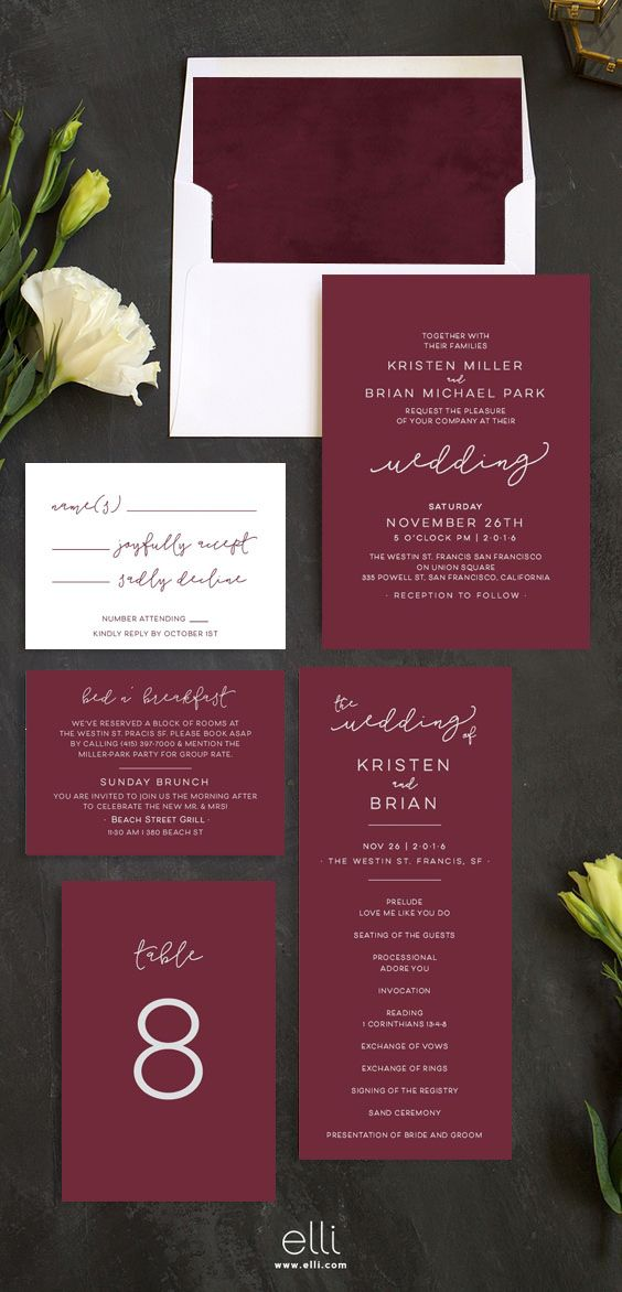 sample of wedding invitation letter%0A Modern Burgundy Wedding Invitation Suite  Wedding Invitation Printable   Invitation Set Wedding Invitation PDF Letter or A   Item code  P        Wedding