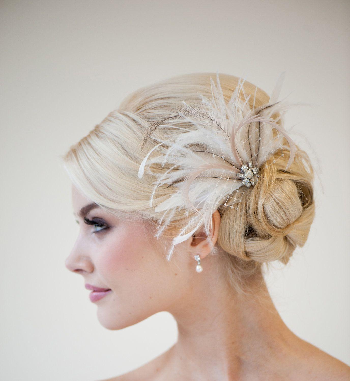 bridal feather fascinator, wedding feather headpiece, bridal feather