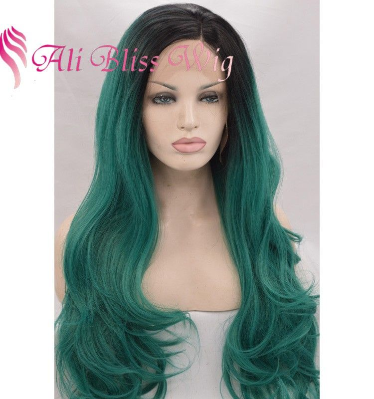 Super Cheap 22 Inch Long Wavy Heat Resistant Dark Roots Green Ombre Two Hairstyle Inspiration Daily Dogsangcom