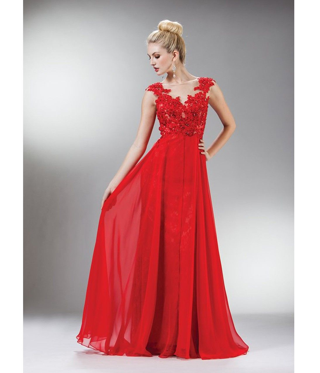 150 Red Beaded Lace Mesh Cap Sleeve Long Dress for Prom 2017 ...