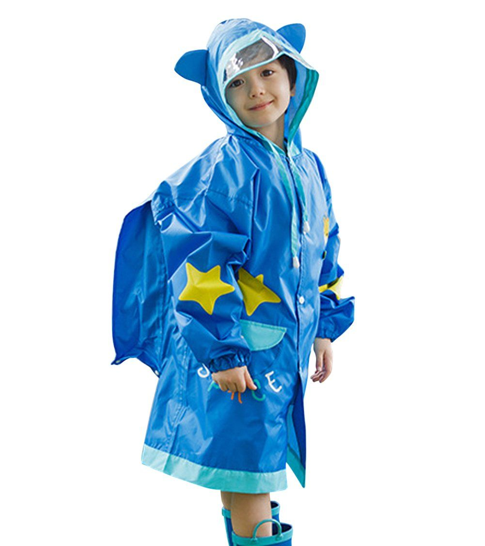 5b4b28a22a4 Kid Boys Girls Hooded Giraffe Raincoat Long Rain Jacket Slicker Blue 3-5.  100