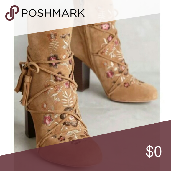 5e40d90cf Anthro Floral Winnie Booties Stunning Floral Winnie Suede Embroidered  Booties by Sam Edelman purchased at Anthropologie