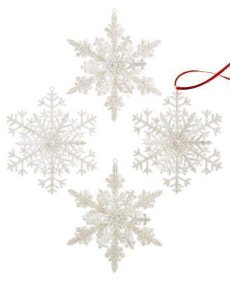 Holiday Lane Glitter Snowflake Ornaments - White