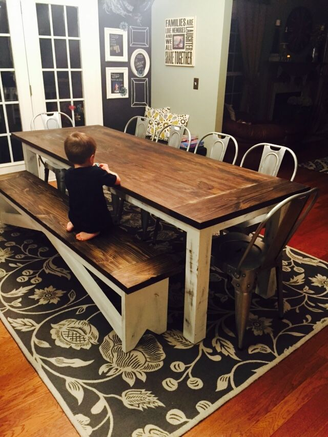 8 Custom Chalk Paint Base Table With 7 Slide Under Bench