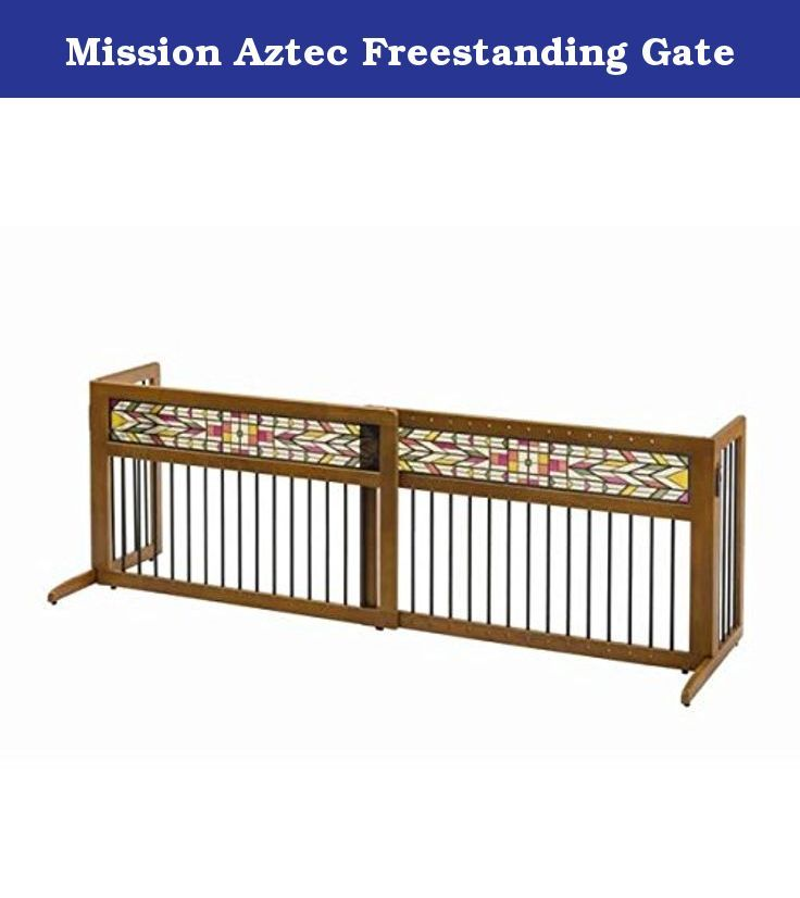 Mission Aztec Freestanding Gate. Mission Aztec Freestanding Gate This gate is a must have! Its beautifully stained glass panel and hardwood construction complements most home interiors. Plus, it's perfect for use in any space in the home. Just lift and move - it's that easy! The Side Panels fold in for easy storage or transport so you can take it with you! It also includes Rubber Feet to protect floor surfaces and prevent the gate from sliding. The Mission Aztec Freestanding Pet Gate is...