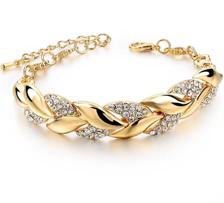 2a258e1be Braided Gold Leaf Bracelets & Bangles With Stones Luxury Crystal Bracelets  For Women Wedding Turkish Jewelry