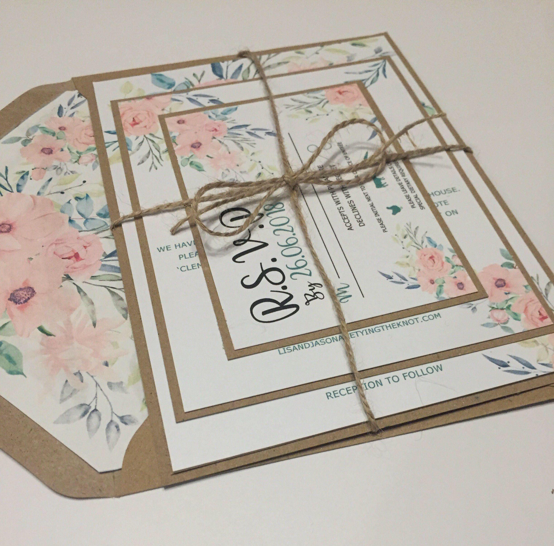 Mint Green Rustic Floral Wedding Invitation suite - Wedding ...