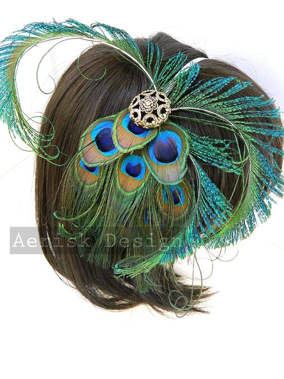 Imperial Peacock feather fascinator headdress (5 fastener option)(16 color  options) mardi gras 9f5e387f5d7